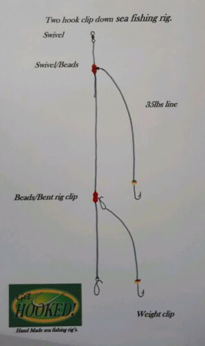 4 X Two hook clip down sea fishing rig/' made with No1 hook/'s