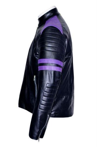 Mayhem Mens Classic Biker Fitted Style Black /& Purple Soft Nappa Leather Jacket