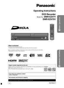 Dmr-ez47v panasonic diga hdmi dvd recorder vhs vcr owners manual.