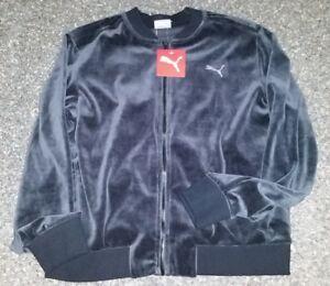 Dynamic Nwt Msrp $60 Puma Athletic Track Running Velour Zipper Jacket Coat Womens Black Activewear Jackets