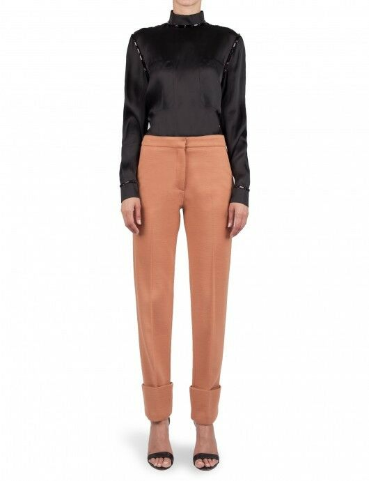 490 New Issa London Runway whitehe red Cut Cuffed Knit Wool Blend Pants US 4
