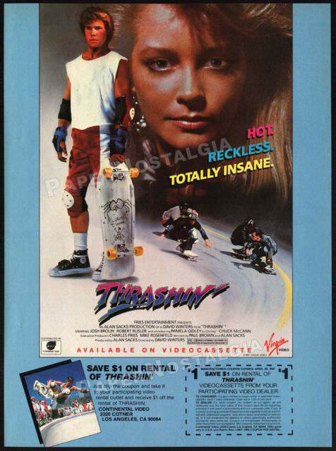 THRASHIN'__Original 1987 print AD / video promo ad__JOSH BROLIN__skateboarding