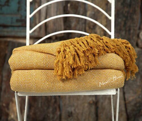 Sur la maison Herringbone Cotton Throw Sofa Throw double Canapé-couverture 228x254 cm