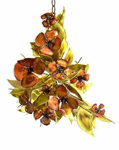 Copper-Brass-MCM-Original-034-Stephen-Vat-034-Metal-Flower-Bouquet-Wall-Sculpture