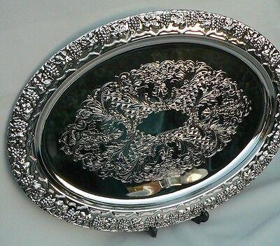 Large Metal Challah Plate of Shabbat Hallah Tray Bread Board Silver Tone Shabbes