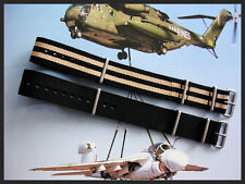 24mm Black NATO g10 nylon watch band 2pak RAF military strap IW SUISSE 18 20 22