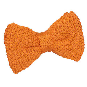 DQT-Knit-Knitted-Plain-Tangerine-Casual-Adjustable-Pre-Tied-Boys-039-Bow-Tie