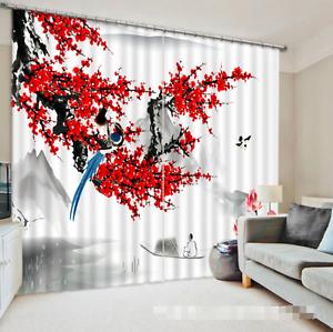 3D Ciruela Flor 6 Cortinas de impresión de cortina de foto Blockout Tela Cortinas Ventana CA