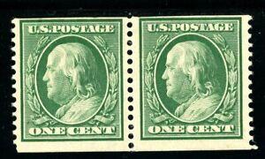 USAstamps Unused FVF US 1909 Franklin 3mm Spacing Coil Pair Scott 352 OG MH