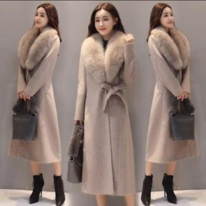 Parka Maxi Kvinder 3xl S Uld Collar Jakke Long Belt Blend Bow Fur Winter Warm rXUxX60