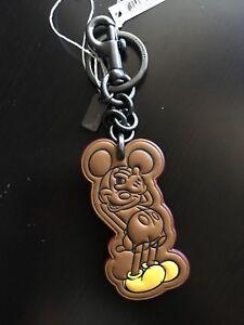 NWT Coach X Disney MICKEY MOUSE Key Chain Fob Bag Charm Leather  58994