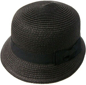 Ladies Women Classic Ribbon Bow Straw Hat Cloche Bucket Beach Hat ... 4384899f0c60