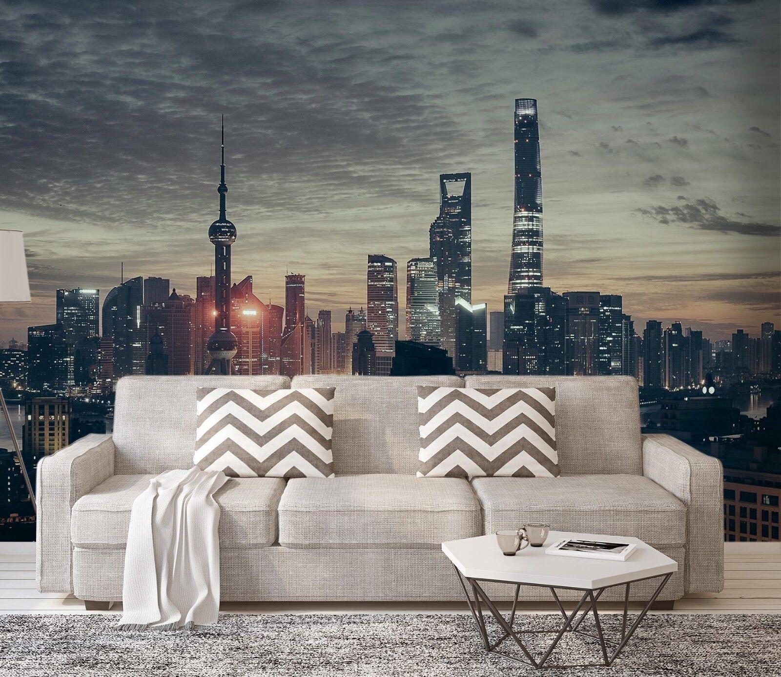 3D City Night Scene 976 Wallpaper Mural Paper Wall Print Indoor Murals CA Summer