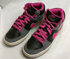 NIKE BACKBOARD II 2 MID LEATHER TRAINERS KIDS BLACK PINK GREY SHOES SIZE UK 5 38