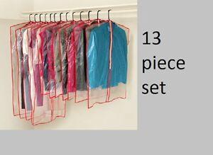 13 pc clothes cover garment suit dress dust clear plastic hanging storage bag ebay. Black Bedroom Furniture Sets. Home Design Ideas