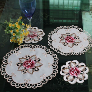 White-Round-Embroidered-Flower-Dining-Table-Placemat-Valentine-039-s-Day-Decor