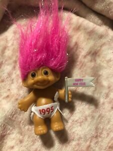 1995 Happy New Year Baby Diaper Flag Sparkle Pink Hair Russ Troll Doll