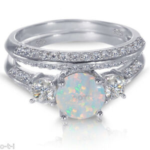 White Gold Sterling Silver Round Cut White Fire Opal Wedding