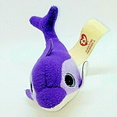 TY Tennie Beanie Mc Donalds Surf the Purple Dolphin 4.5in  2014 Plush HTF Animal