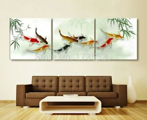 3piece-Koi-fish-wall-art-chinese-oil-painting-wall-art-on-canvas-unframed