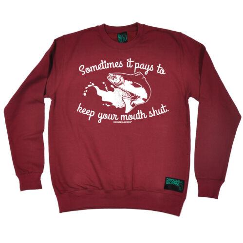 fermez la noyade Worms Sweat-Shirt Cadeau D/'Anniversaire Drôle de Poisson Parfois il paie..