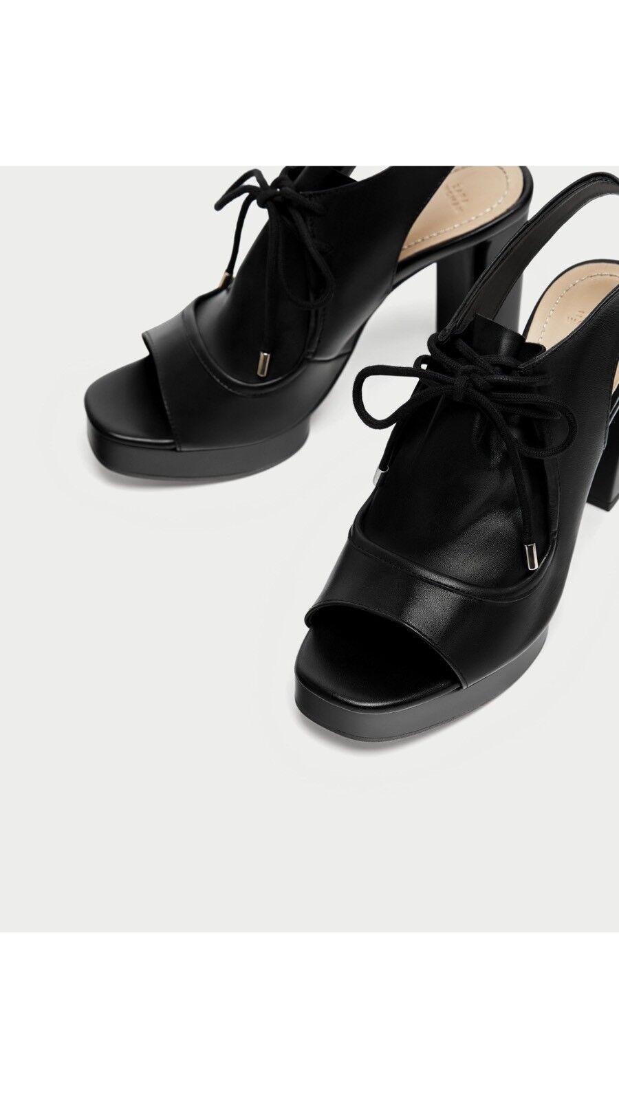 NWT ZARA US Buckled Leather Slingback Sandal US ZARA 6.5 EU 37 c4a2ee