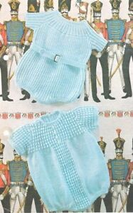 22  4 Ply Vintage Baby Knitting Pattern Ribbed /& Patterned Rompers 19/""