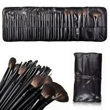 32 Pc Professional  Makeup Brush Set Make- up Roll Up Case Natural Hair Mineral