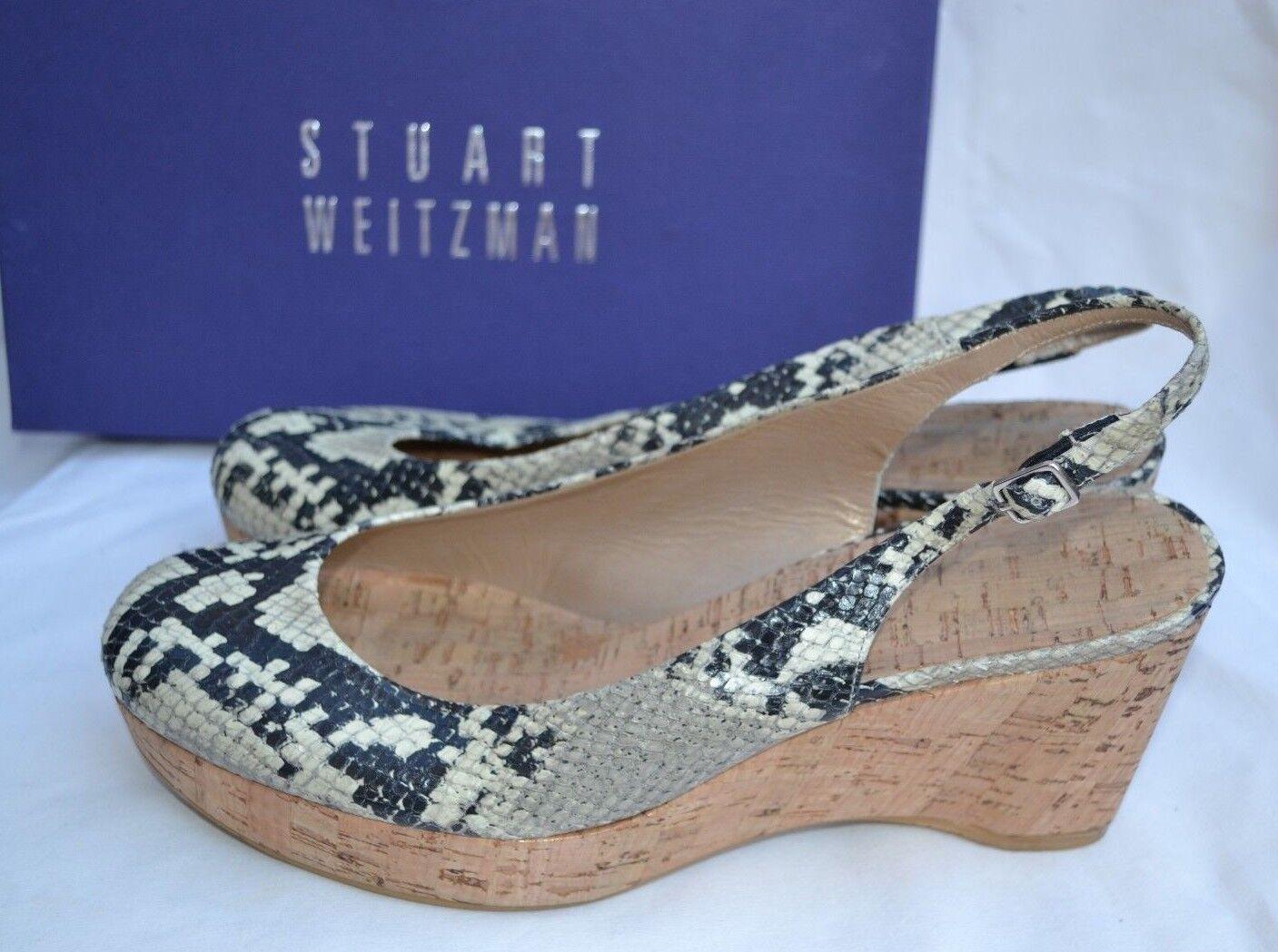 STUART WEITZMAN AUTH  399 Women's Snake Skin Leather Cork Platform Slingback 8.5