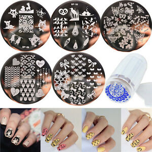 7pcs-set-BORN-PRETTY-Nail-Art-Template-Stamping-Plates-amp-Clear-Stamper-Kit-DIY