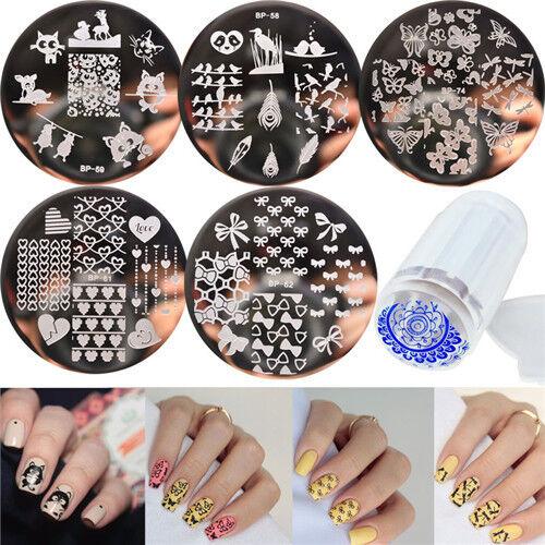 6pcs Set Born Pretty Nail Art Template Stamping Plates Clear Stamper Kit Diy Ebay