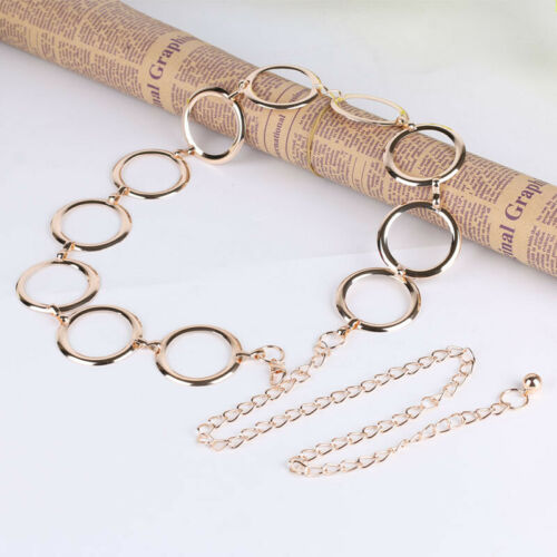 Ladies Womens Gold Silver Metal Waist Chain Charm Fashion Belt Fashion One Size