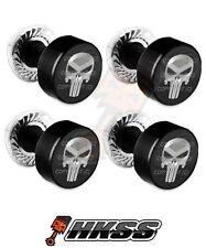 4 Black Billet Aluminum License Plate Frame Tag Bolts - PUNISHER SKULL SB E50