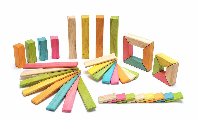 Tegu 40 Piece Explorer Magnetic Building Blocks Wooden Block Set Kids Toy Tints