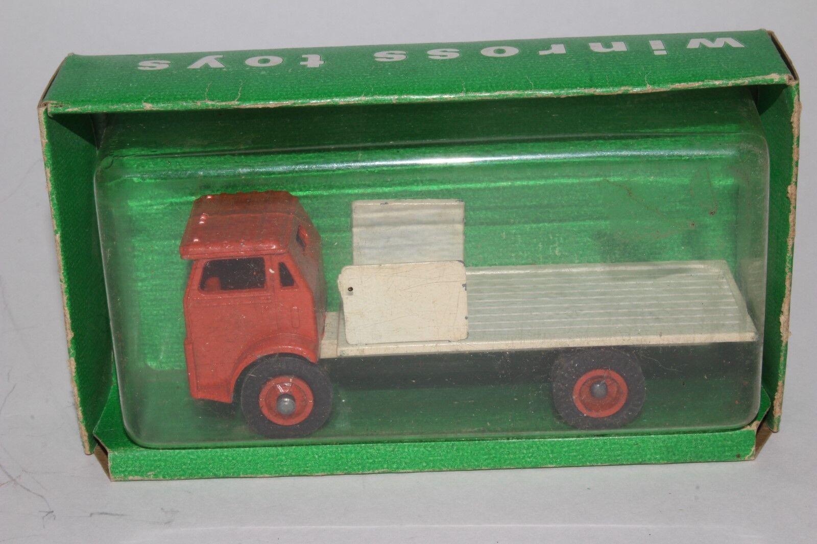 Winross década de 1960 blancoo Camiones Camión de súperficie plana con aparadores Y Caja Original