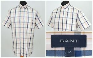 Mens-GANT-Pinpoint-Oxford-Shirt-White-Pink-Check-Short-Sleeve-Size-M