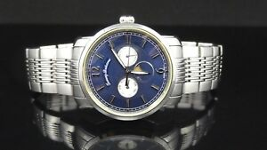 6068ad87c64 Tommy Bahama TB3036 Moon Phase Day & Date Blue Dial St. Steel Men's ...