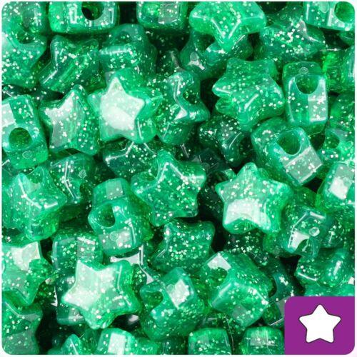 50 Emerald Green Sparkle Star Shape 13mm Highest Quality Pony Beads