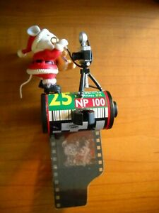 Vintage-Christmas-Ornament-Santa-Mouse-With-Camera-Standing-on-a-Roll-of-Film