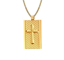 Men's Stainless Steel Gold Dog Tag Cross Pendant Necklace
