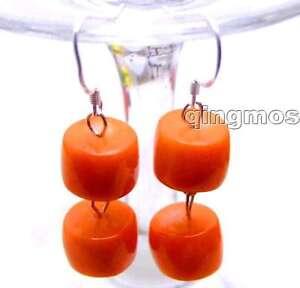 Big-10-11mm-Orange-natural-knobble-coral-dangle-Earring-amp-Silver-925-hook-ear354