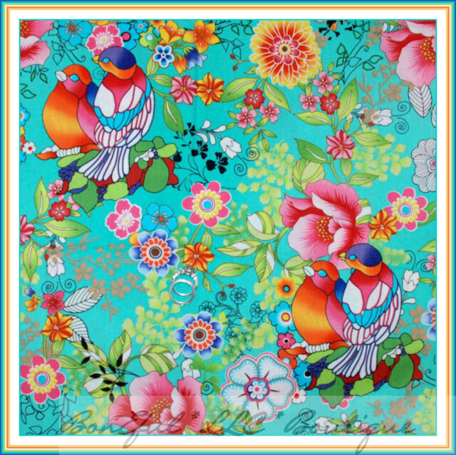 BonEful Fabric FQ Cotton Flower Tropical Bird Hawaii Island Beach Rainbow Parrot