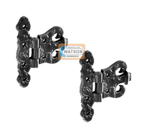 2 X 100mm Antik Schwarz Verkleidung Scharnier Schrank Tür Kunstvoll Tudor Stil