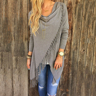 Ladies Tassel Fringe Hem Irregular Casual Sweater Poncho Batwing Shawl Coat Top