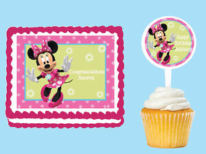 MINNIE MOUSE Edible Birthday Cake Topper Cupcake Party Plastic - Plastic birthday cake