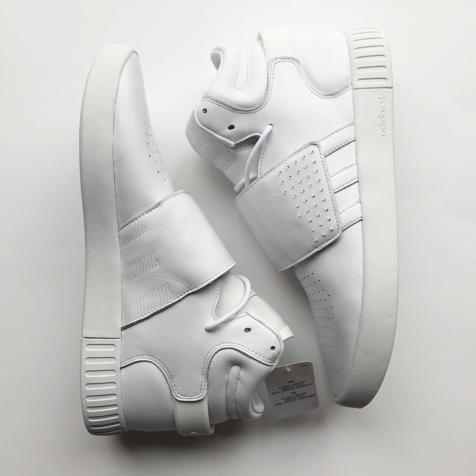 Men's Adidas Tubular Invader Strap New White Leather shoes US Size 11.5 BW0872