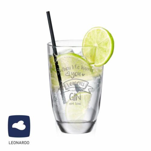 "Leonardo GIN-Glas /""When life hands you Lemons make a GIN and tonic/"""