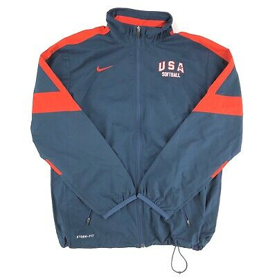 Nike Storm Fit Jacket Small USA Softball Spellout Swoosh ...