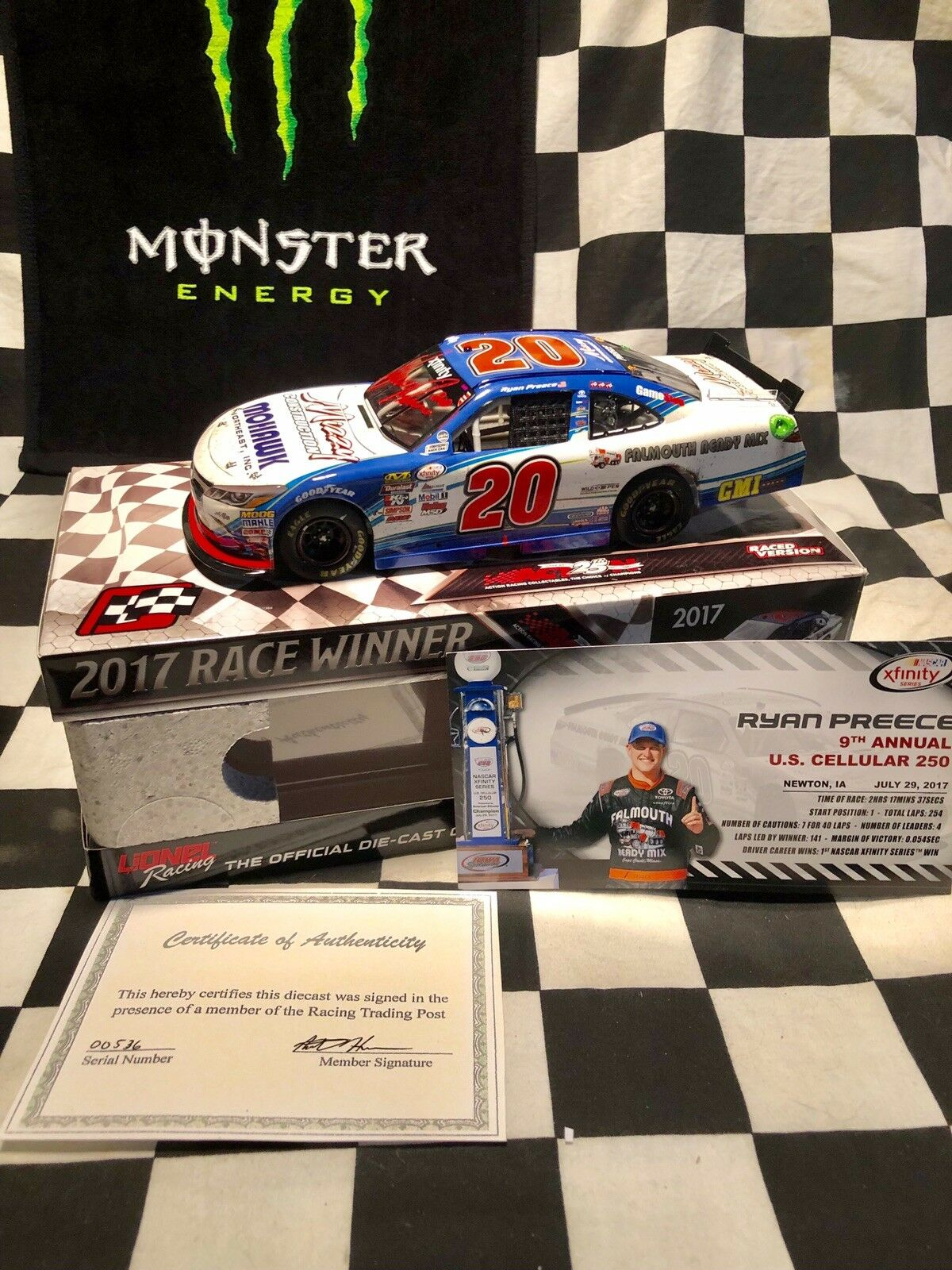 2017  20 Ryan Preece Iowa Raced First Win - Autographed W coa
