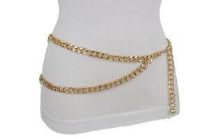 New Women Elastic Black Fashion Belt Gold Chains Big Cross Chain Buckle S M